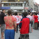 flash mob walking through inner city