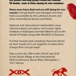 back of the flyer explaining the reason for the flash mob (see description) and showing the logos and homepages of Pamoja and PIUMA